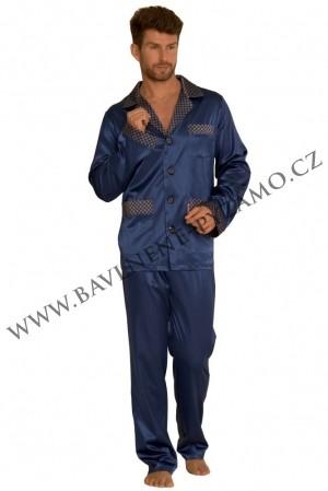 Saténové pánské pyžamo Adam tmavě modré 2e3b5c3f58